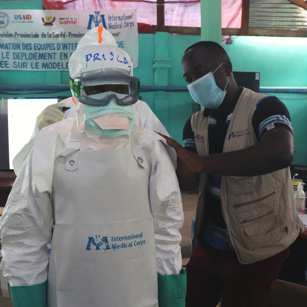 Samuel Vgheni, an IMC Wash Officer, trained the local staff in rapid response in Buburu health zone in Equateur province , DRC.