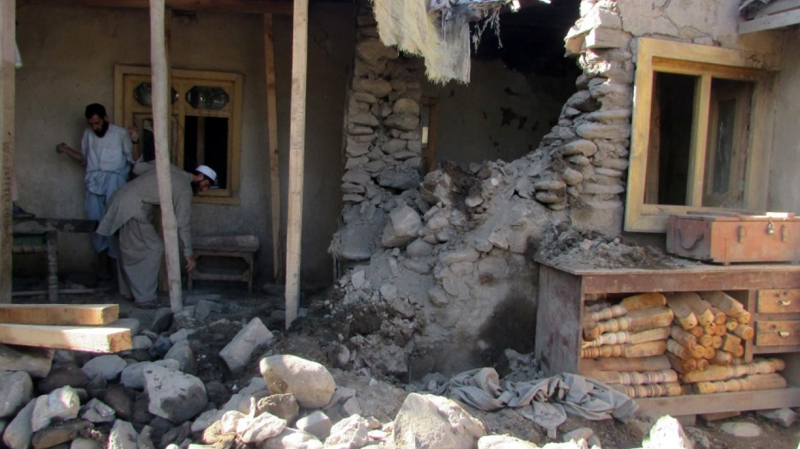 a collapsed house after Afghanistan earthquake