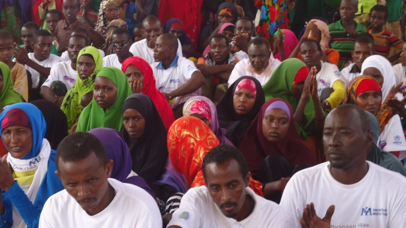 Somali refugees in Ethiopia gather to discuss violence against women at an International Medical Corps health centre.
