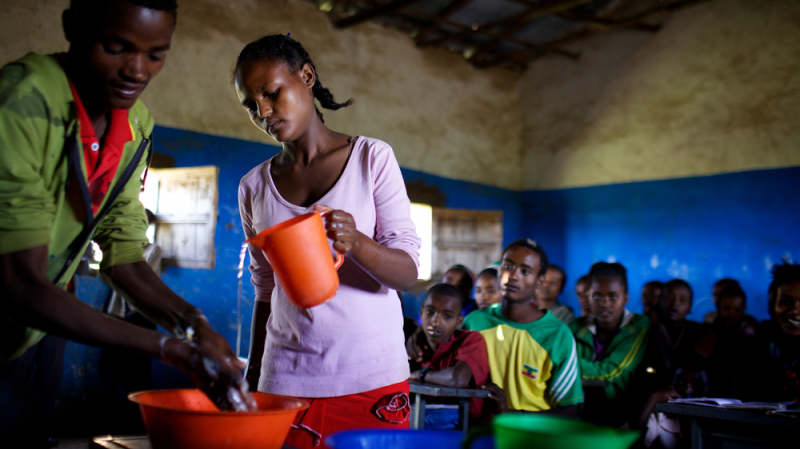 Handwashing with soap at critical times – including before eating or preparing food and especially after using the toilet – can reduce diarrheal risk by about 45 per cent.