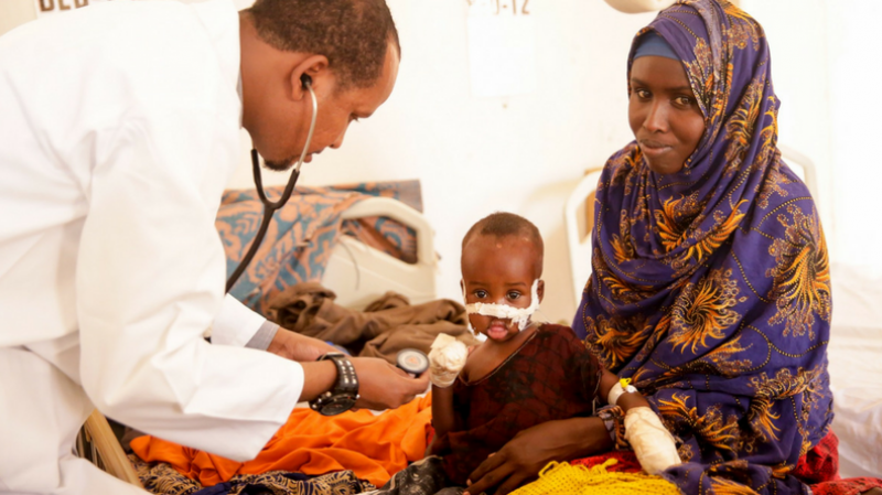 International Medical Corps' doctors and nurses attend to sick and malnourished children at Galkayo Hospital.
