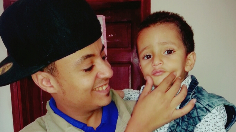 Fayad with a beneficiary.