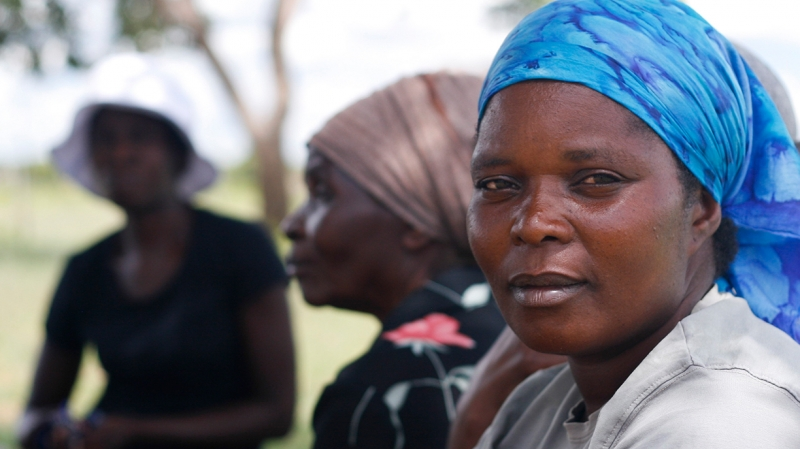 A woman at an International Medical Corps project in Zimbabwe