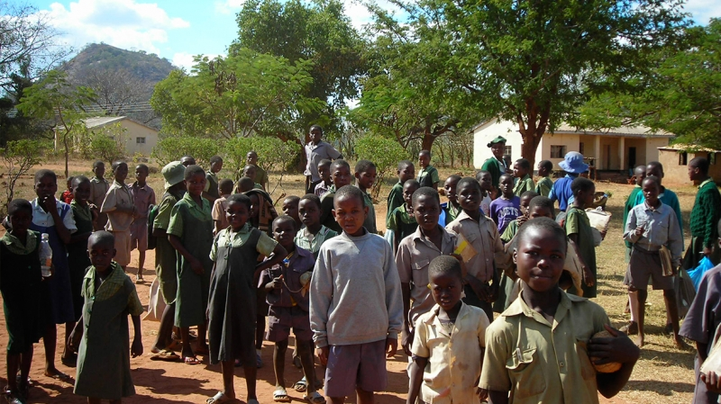 Children at a school in Bindura, Zimbabwe