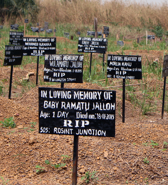 A graveyard at Makeni Ebola treatment unit Sierra Leone