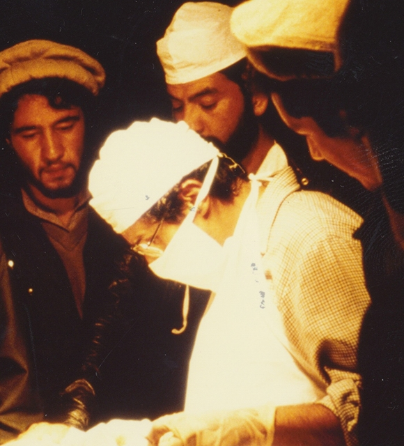 Bob Simon training medics on surgical techniques in Afghanistan 1984